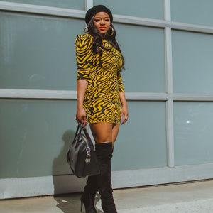 Dresses & Skirts - Yellow and Black Tiger Print Mini Sweater Dress